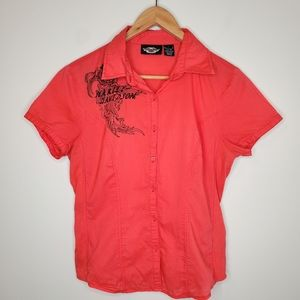 Harley Davidson Embroidered Button Down Shirt